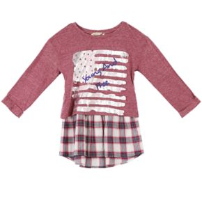 """Girls 7-16 Speechless """"Young and Free"""" Mock-Layered Plaid Top"""