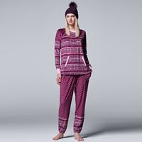 Women's Simply Vera Vera Wang Pajamas: Weekend Retreat Top, Jogger Pants & Hat PJ Set