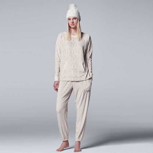 Women's Simply Vera Vera Wang Pajamas: Weekend Retreat Top, Jogger Pants & Hat PJ Set