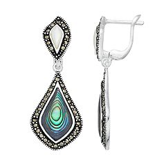Silver Plated Abalone, Mother-of-Pearl & Marcasite Drop Earrings