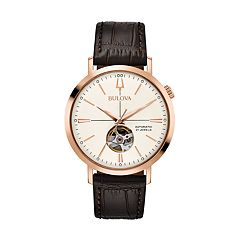 Bulova Men's Classic Leather Automatic Skeleton Watch - 97A136