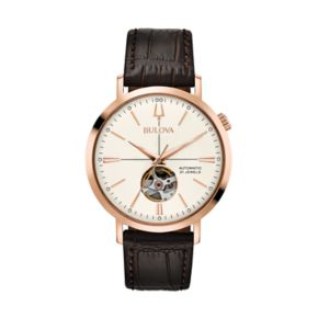 Bulova Men's Classic Leather Automatic Skeleton Watch - 97A136