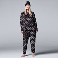 Plus Size Simply Vera Vera Wang Pajamas: Weekend Retreat Top, Jogger Pants & Hat PJ Set