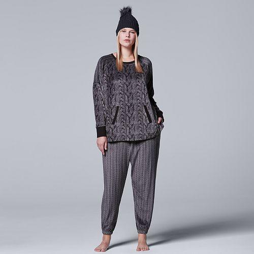 NEW Sleep Retreat  2 Piece Knit Button Front Top /& Elastic Waist Pajama Pant Set