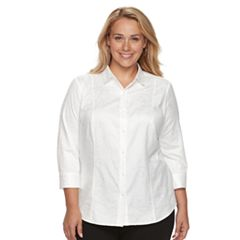 Plus Size Dana Buchman Jacquard Button-Front Top