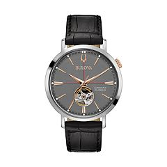 Bulova Men's Classic Leather Automatic Skeleton Watch - 98A187