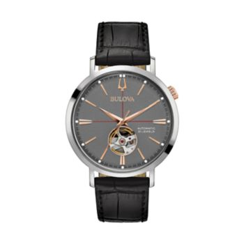 Bulova Men's Classic Leather Automatic Skeleton Watch - 98A187