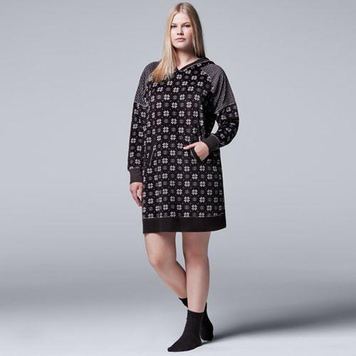Plus Size Simply Vera Vera Wang Pajamas: Weekend Retreat Hooded Sleep Shirt & Socks PJ Set