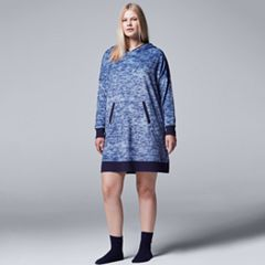 Plus Size Simply Vera Vera Wang Pajamas: Weekend Retreat Hooded Sleep Shirt & Socks PJ Set