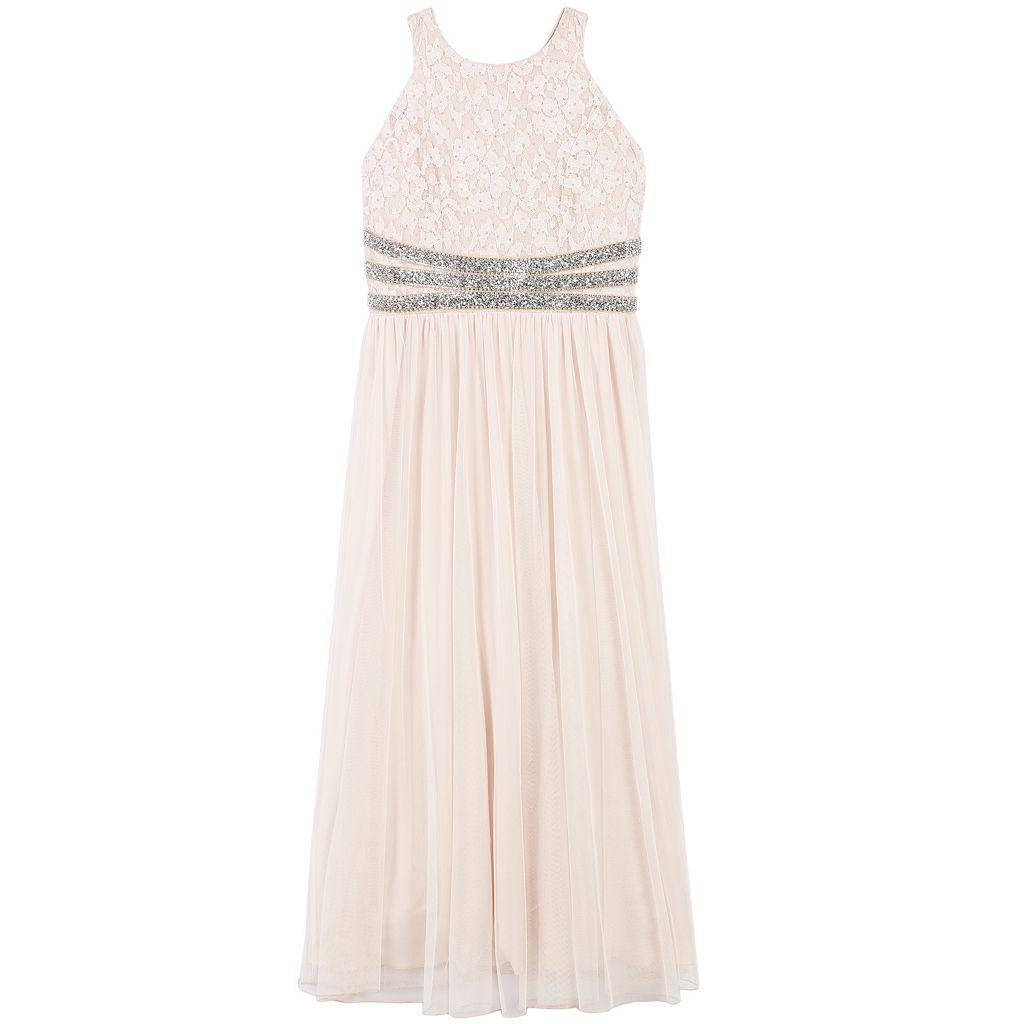Girls Plus Size Speechless Shiny Waist Lace Maxi Dress