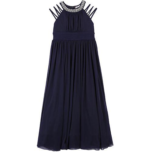 Girls Plus Size Speechless Jewel High Neck Cutout Sleeve Maxi Dress