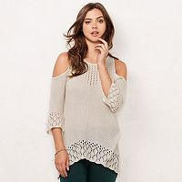 Women's LC Lauren Conrad Cold-Shoulder Eyelet Sweater