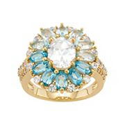 18k Gold Over Silver Blue Topaz & Lab-Created White Sapphire Ring