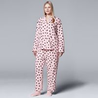Plus Size Simply Vera Vera Wang Pajamas: Classic Romance Top, Pants & Socks PJ Set