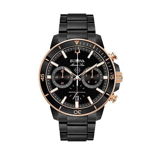 Bulova Men's Marine Star Black Ion-Plated Stainless Steel Chronograph Watch - 98B302