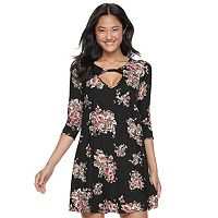 Juniors' Trixxi Floral Twist-Front Swing Dress