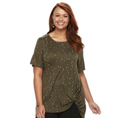 Plus Size Apt. 9® Knot-Front Tee