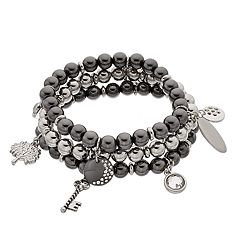 Skeleton Key & Tree Charm Beaded Stretch Bracelet Set