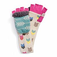 Women's MUK LUKS Chevron Long Flip-Top Mittens