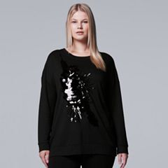 Plus Size Simply Vera Vera Wang 10th Anniversary Embellished Statement Sweatshirt