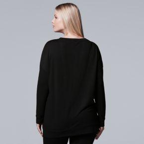 Plus Size Simply Vera Vera Wang 10th Anniversary Embellished Statement Sweatshirt