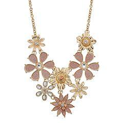 Glitter Flower Statement Necklace