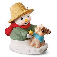 Snow Buddies Snowman & Pig 2017 Hallmark Keepsake Christmas Ornament
