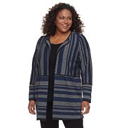 Plus Size Dana Buchman Mixed Stripe Collarless Car Coat
