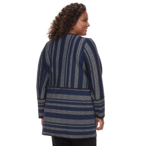 Plus Size Dana Buchman Mixed Stripe Collarless Car Coat