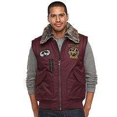 Men's XRAY Slim-Fit Faux-Fur Military Vest