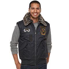 Men's XRAY Slim-Fit Faux-Fur Military Vest