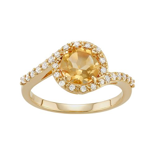 18k Gold Over Silver Citrine & Cubic Zirconia Halo Ring