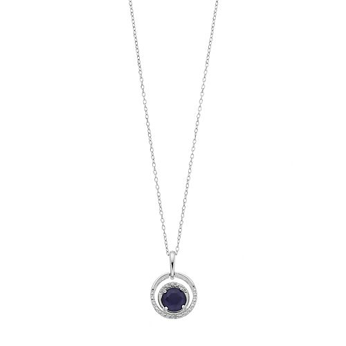 RADIANT GEM Sterling Silver Lab-Created Sapphire & Diamond Accent Circle Pendant Necklace