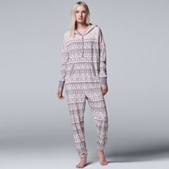 Women's Simply Vera Vera Wang Pajamas: Weekend Retreat Hooded One-Piece Pajamas
