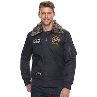 Men's XRAY Slim-Fit Faux-Fur Military Jacket