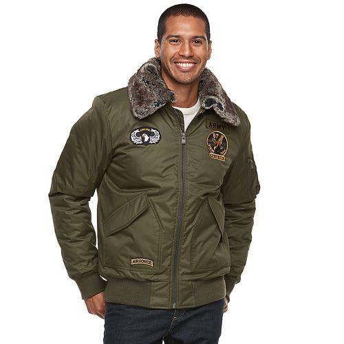 Men's XRAY Slim-Fit Faux-Fur Military Jacket