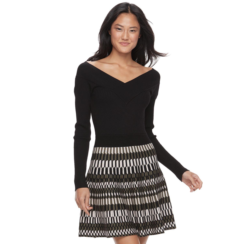portrait collar sweater dress