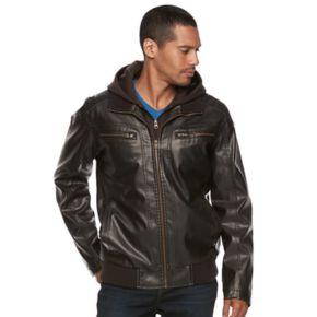 Men's XRAY Faux-Leather Hooded Moto Jacket