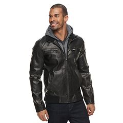Men's XRAY Faux-Leather Hooded Moto Jacket