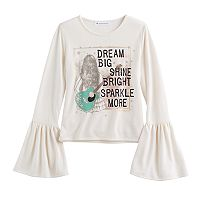 Girls 7-16 American Girl Flare Bell Sleeve Glitter Graphic Tee