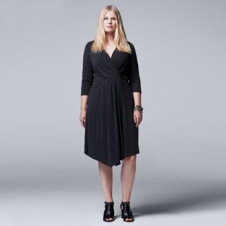 Plus Size Simply Vera Vera Wang Faux-Wrap Dress