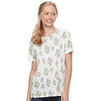 Juniors' Mighty Fine Sketchy Cactus Tee