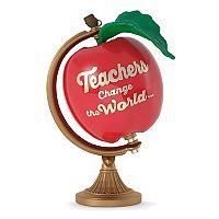 Teachers Change the World Apple Globe 2017 Hallmark Keepsake Christmas Ornament
