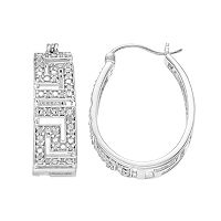 Sterling Silver 1/4 Carat T.W. Diamond Greek Key Hoop Earrings