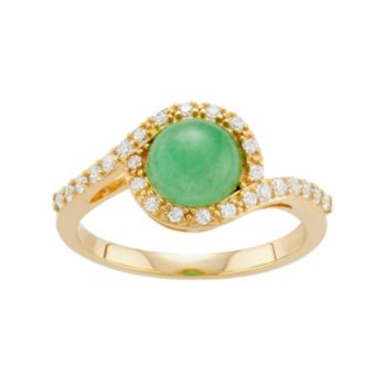 18k Gold Over Silver Simulated Jade & Cubic Zirconia Halo Ring