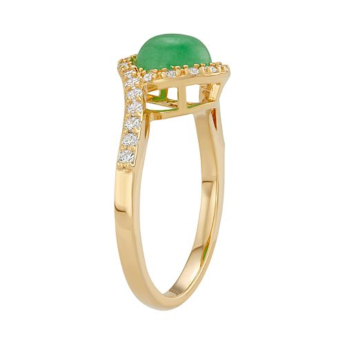 18k Gold Over Silver Jade & Cubic Zirconia Halo Ring