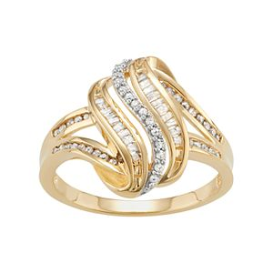 14k Gold Over Silver 1/3 Carat T.W. Diamond Wave Ring