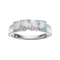 Sterling Silver Lab-Created Opal & Swiss Blue Topaz Ring