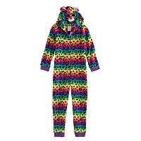 Girls 4-12 TY® Beanie Boos Rainbow Leopard Print Fleece One-Piece Pajamas