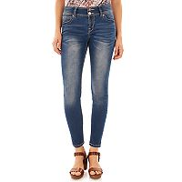 Juniors' Wallflower Luscious Curvy Faded Skinny Jeans